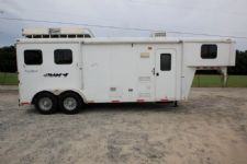 #00670 - Used 2010 Bison 7280LQ 2 Horse Trailer  with 8' Short Wall