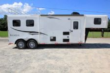 #05157 - Used 2015 Bison 7208LQ 2 Horse Trailer  with 8' Short Wall
