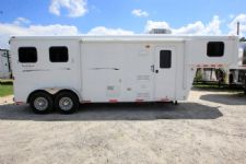 #01704 - Used 2012 Bison 7208LQ 2 Horse Trailer  with 8' Short Wall