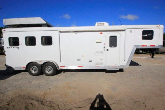 #02121 - Used 2012 Bison Trail Boss 7308 3 Horse Trailer  with 8' Short Wall