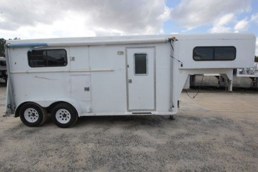 #00087 - Used 1998 Dixie Tuff 2HSTLQ 2 Horse Trailer  with 6' Short Wall
