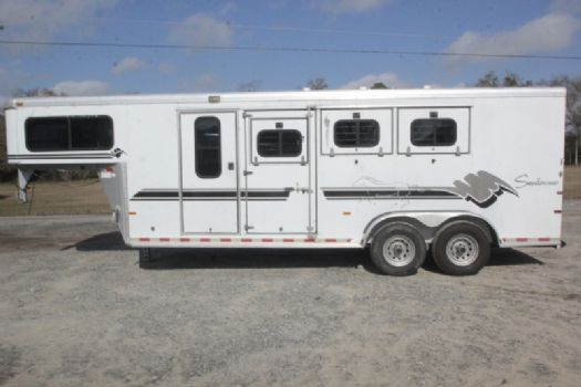 #A7142 - Used 1999 Sundowner 7304LQ 3 Horse Trailer  with 4' Short Wall