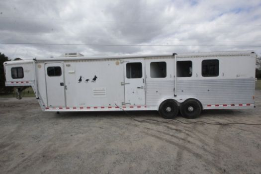 #40990 - Used 2002 Kiefer Built 7412LQ 4 Horse Trailer  with 12' Short Wall