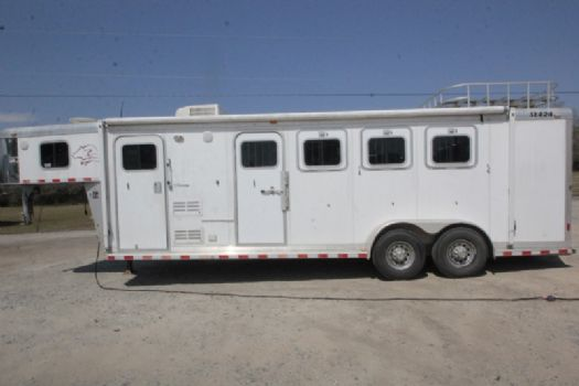 #00718 - Used 2004 Sooner 7408LQ 4 Horse Trailer  with 8' Short Wall