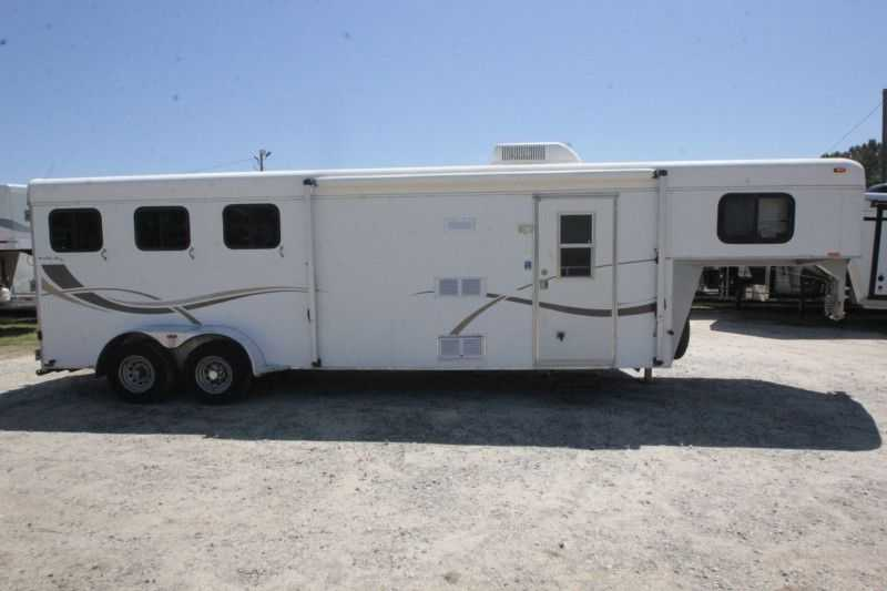 #44516 - Used 2003 Kiefer Built Eagle 7308 3 Horse Trailer with 9' Short Wall
