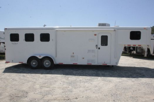 #03257 - Used 2013 Bison Trail Hand 7380LQ 3 Horse Trailer  with 8' Short Wall