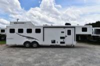 #05227 - Used 2015 Bison 7408TH 4 Horse Trailer  with 8' Short Wall