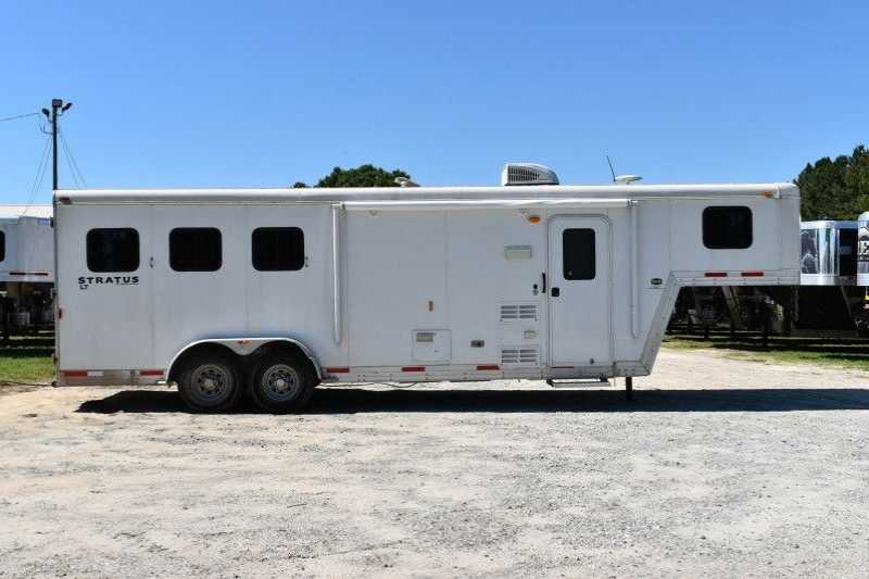 #04135 - Used 2014 Bison Stratus 7308 3 Horse Trailer with 8' Short Wall