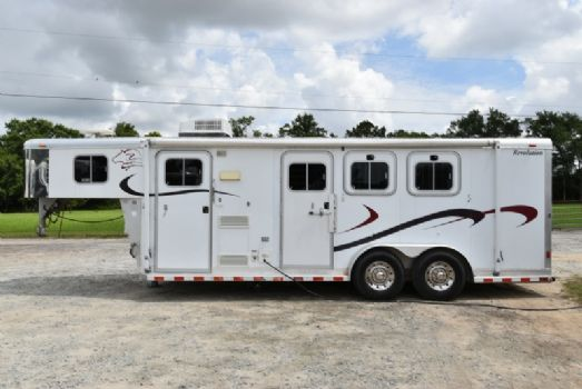#01155 - Used 2002 Sooner 7308LQ 3 Horse Trailer  with 8' Short Wall