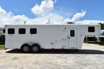 #01416 - Used 2012 Bison 7308TH 3 Horse Trailer  with 8' Short Wall