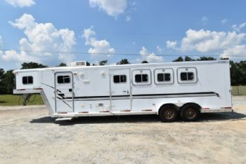 #10409 - Used 2001 Exiss 408LQ 4 Horse Trailer  with 8' Short Wall