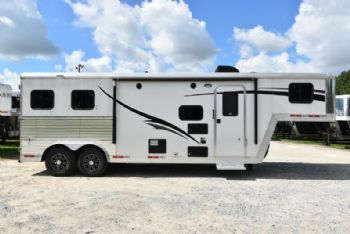 #06454 - Used 2016 Bison 8280GLQ 2 Horse Trailer  with 8' Short Wall