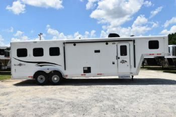 #05861 - Used 2016 Bison 7310 3 Horse Trailer  with 10' Short Wall