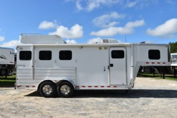 #56259 - Used 2009 Kiefer Built 7306LQ 3 Horse Trailer  with 6' Short Wall