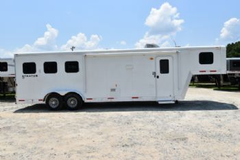 #03596 - Used 2014 Bison 7310LQ 3 Horse Trailer  with 10' Short Wall
