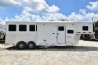 #65036 - Used 2016 Exiss 7308LQ 3 Horse Trailer  with 8' Short Wall