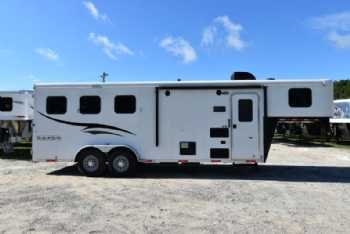 #05531 - Used 2016 Bison 7360S 3 Horse Trailer  with 6' Short Wall