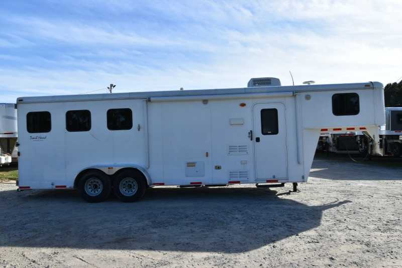 #01807 - Used 2012 Bison 7308 LQ 3 Horse Trailer with 8' Short Wall