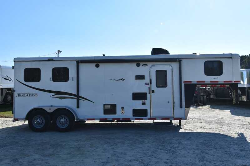 #05859 - Used 2016 Bison TH7208LQ 2 Horse Trailer with 8' Short Wall