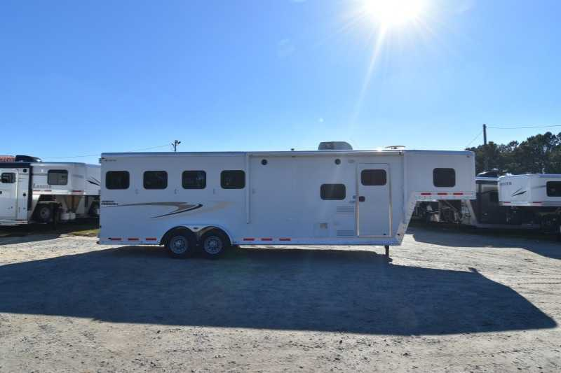 #59705 - Used 2013 Kiefer Built 7408LQ 4 Horse Trailer with 8' Short Wall