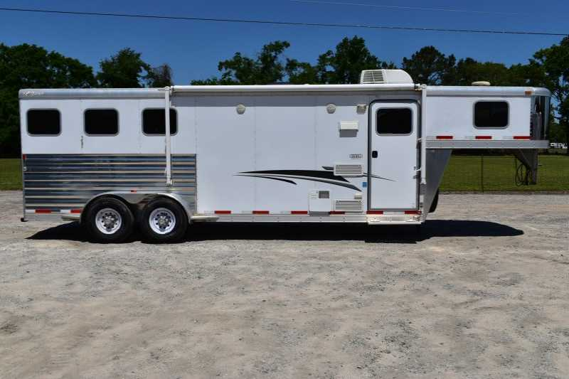 #56185 - Used 2012 Exiss 7308LQ 3 Horse Trailer with 8' Short Wall