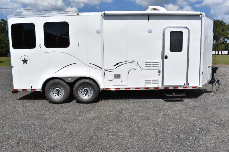 #00423 - New 2019 Harmar Dixie Star 802BPLQ 2 Horse Trailer  with 8' Short Wall