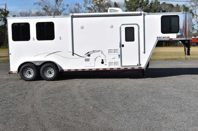 #00427 - New 2019 Harmar Dixie Star Outlaw 7208GLQ 2 Horse Trailer with 8' Short Wall