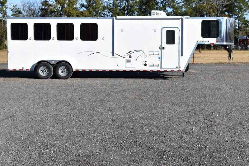 #00410 - New 2019 Harmar Dixie Star Outlaw 7408GLQ 4 Horse Trailer with 8' Short Wall