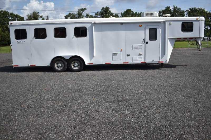 #01755 - Used 2012 Bison 7408TH 4 Horse Trailer with 8' Short Wall