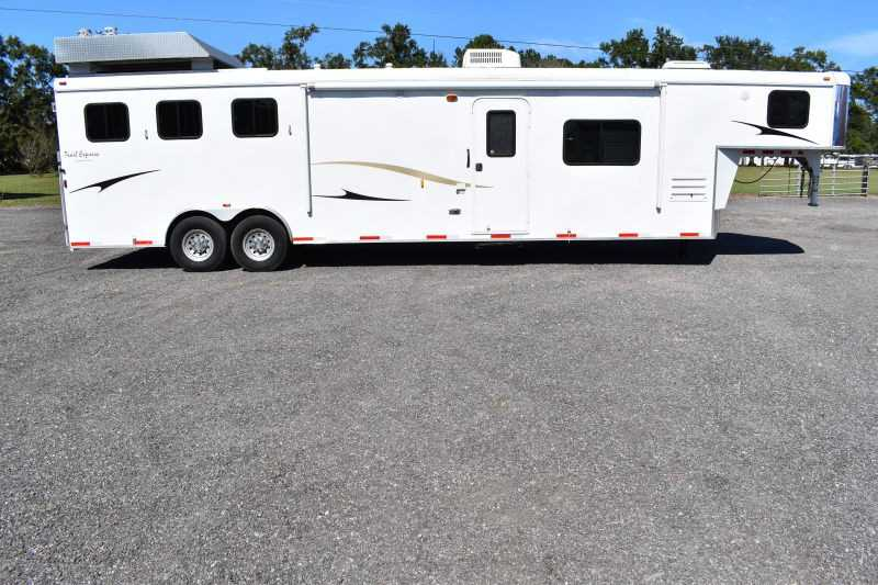 #02718 - Used 2013 Bison 8314LQ 3 Horse Trailer  with 14' Short Wall